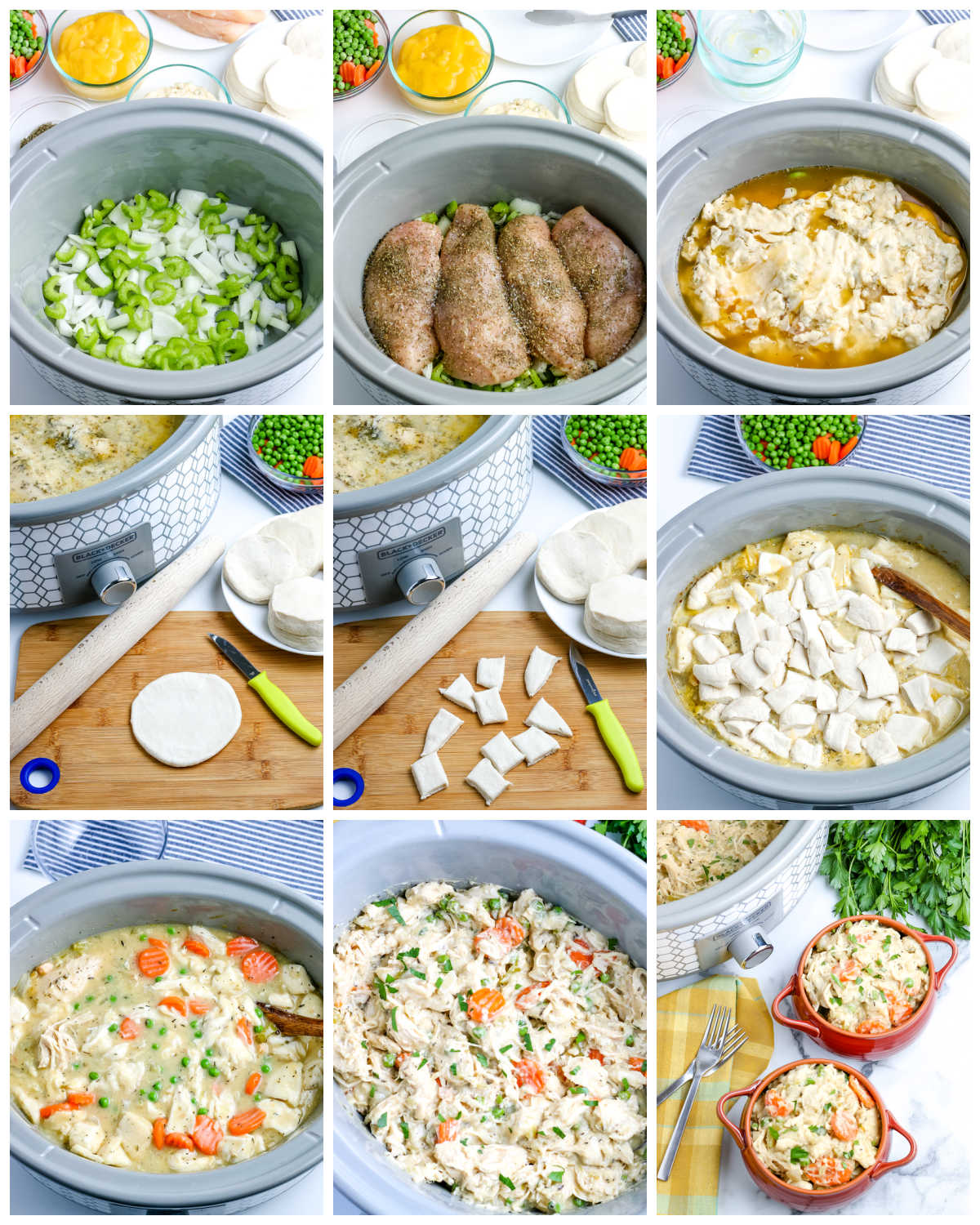A picture collage of how to make this Crockpot Chicken and Dumplings recipe.