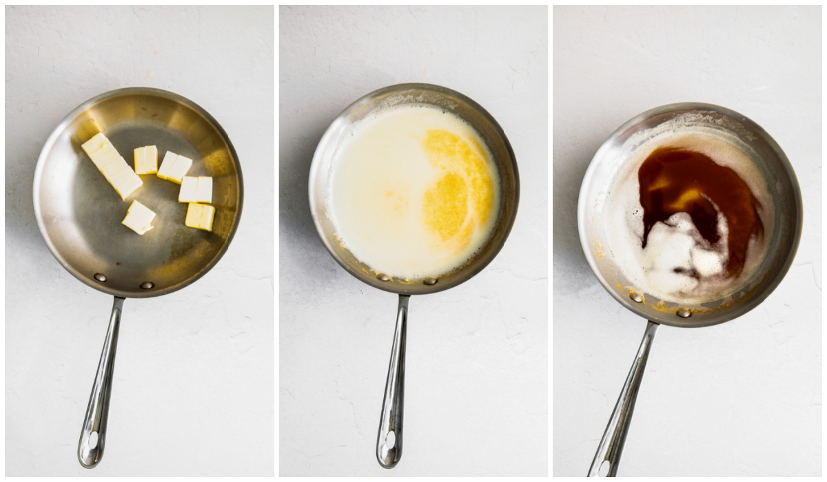 A picture collage of how to make brown butter.