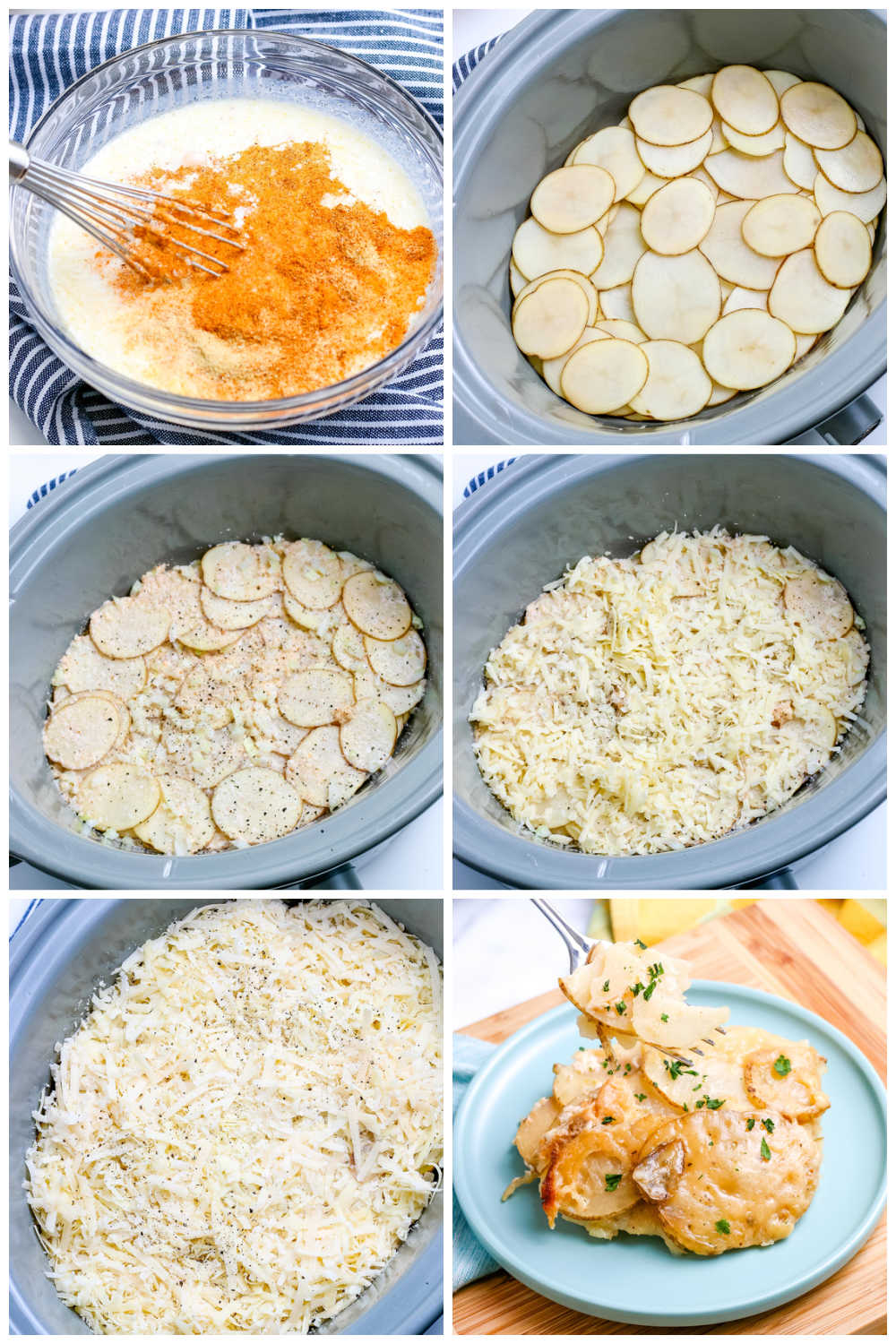A picture collage of how to make Crockpot Scalloped Potatoes.