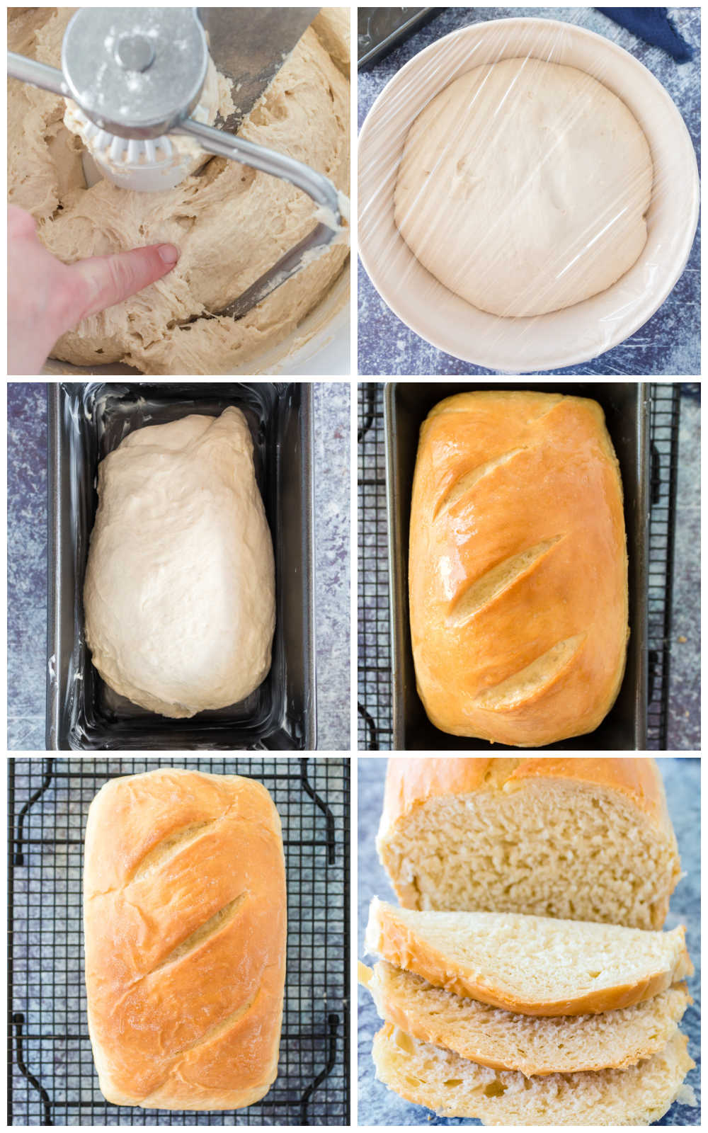 A picture collage of how to make homemade white bread.