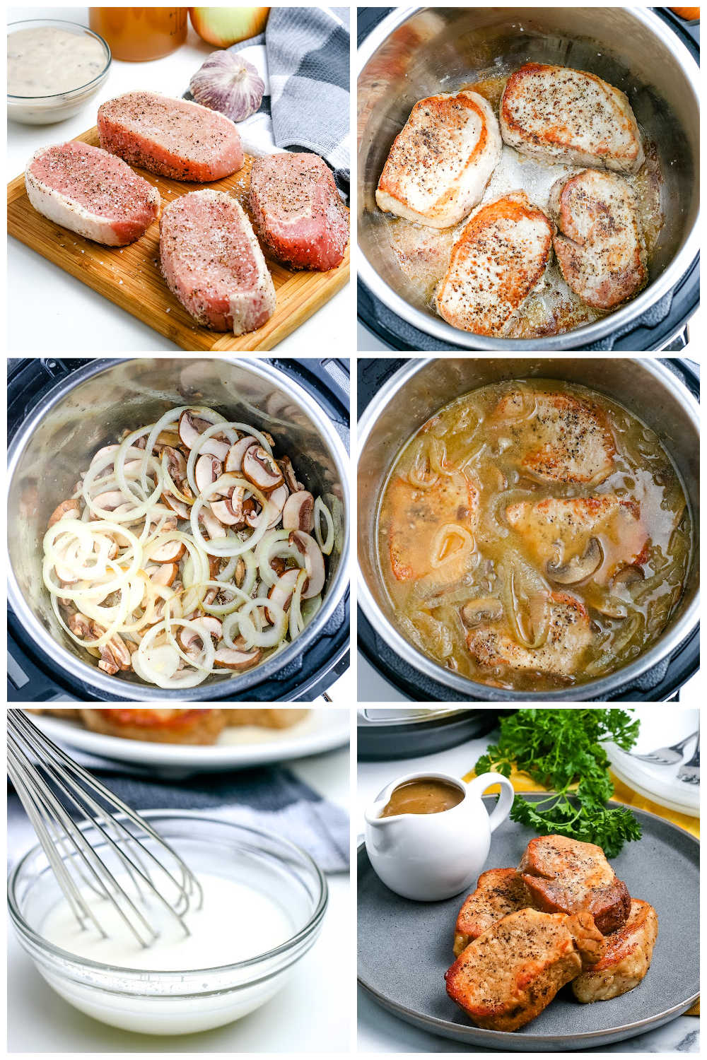 A picture collage of how to make Instant Pot Pork Chops.