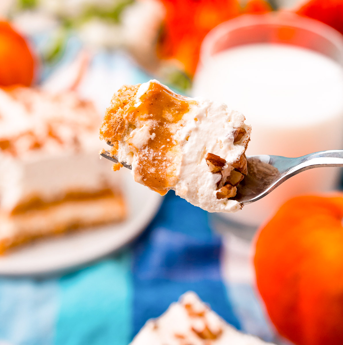 A close up picture of a fork with all of the layers of the Pumpkin delight on it.