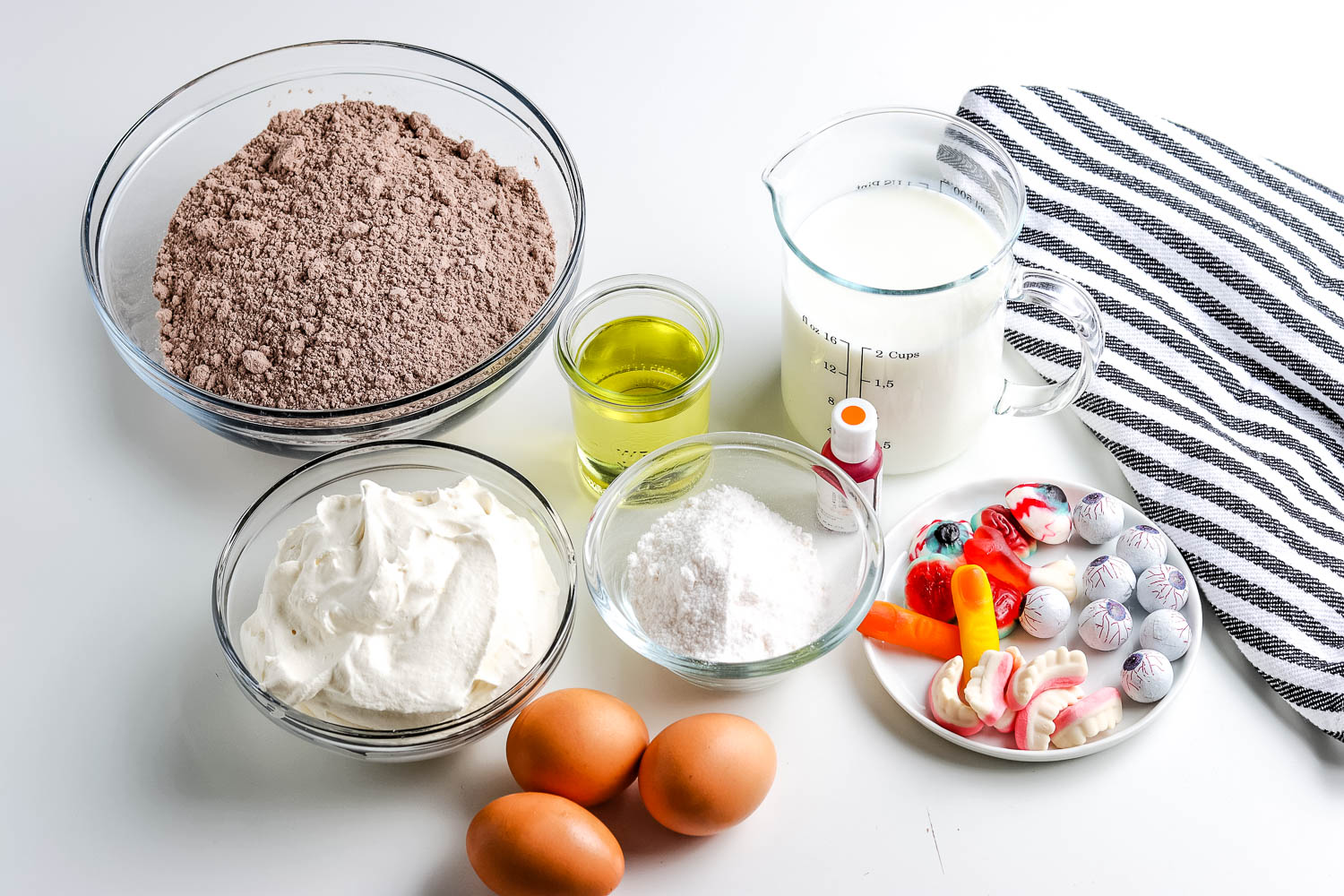 All of the ingredients needed to make this Chocolate Trifle recipe.