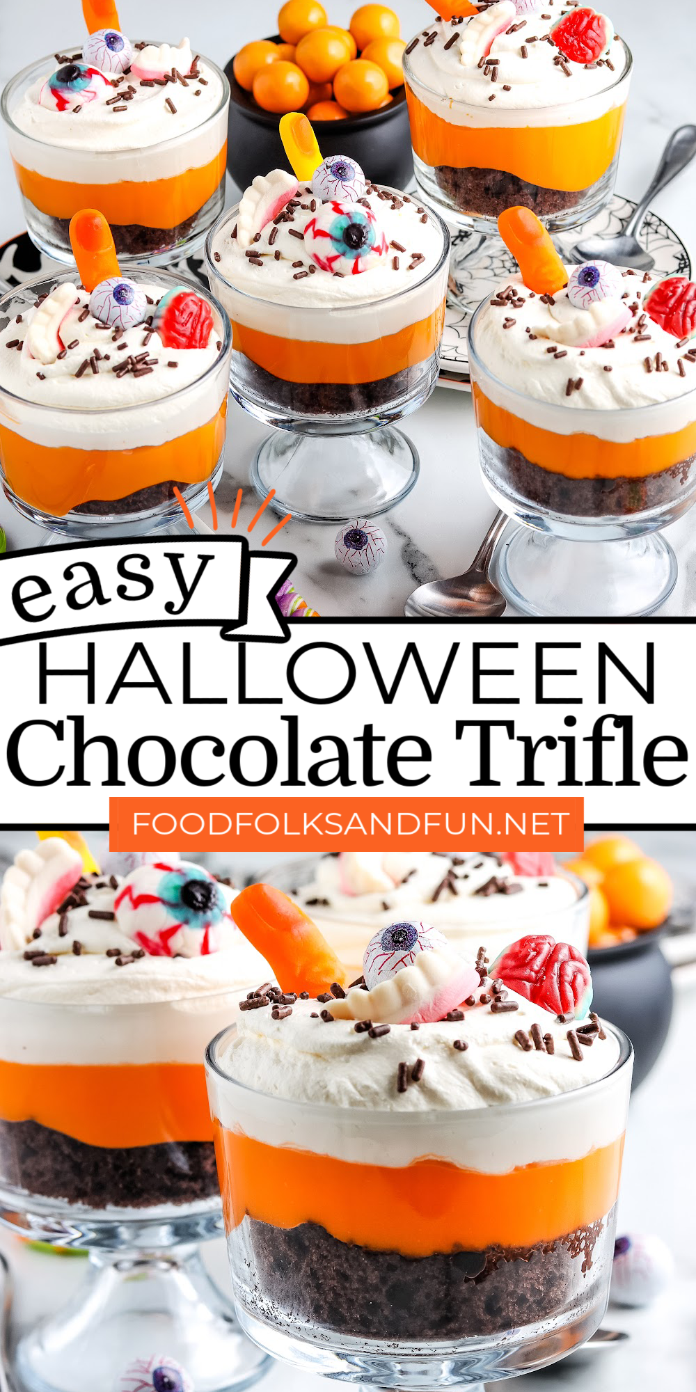 This Easy Halloween Chocolate Trifle recipe is made from cake mix chocolate cake, instant vanilla pudding, Cool Whip, and assorted Halloween Candies. Grab the kiddos because they'll love making this recipe with you! via @foodfolksandfun