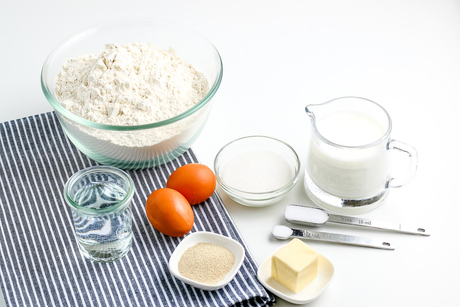 All of the ingredients needed to make this Homemade Dinner Rolls recipe.