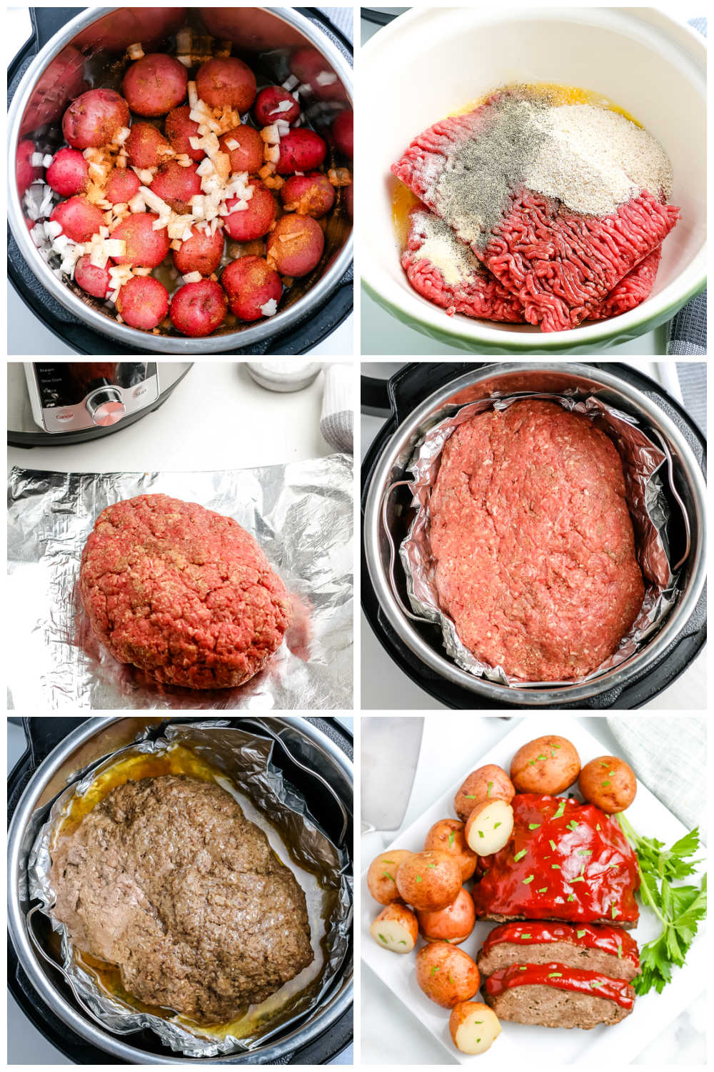 A picture collage of how to make this Instant Pot Meatloaf recipe.