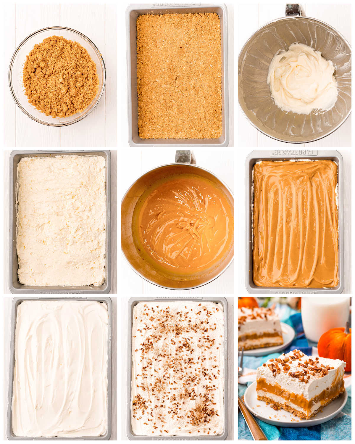 A picture collage of how to make Pumpkin Delight in a 9 by 13 inch pan.