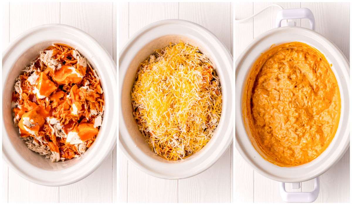 A picture collage of how to make this Crockpot Buffalo Chicken Dip recipe.