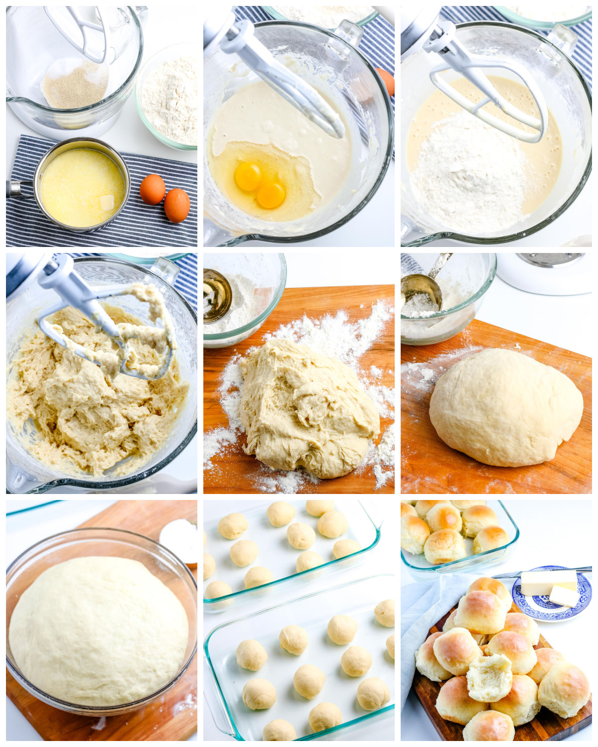 A picture collage showing how to make this Homemade Dinner Rolls recipe.