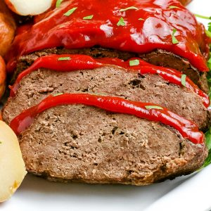 A close up picture of the finished Instant Pot Meatloaf.