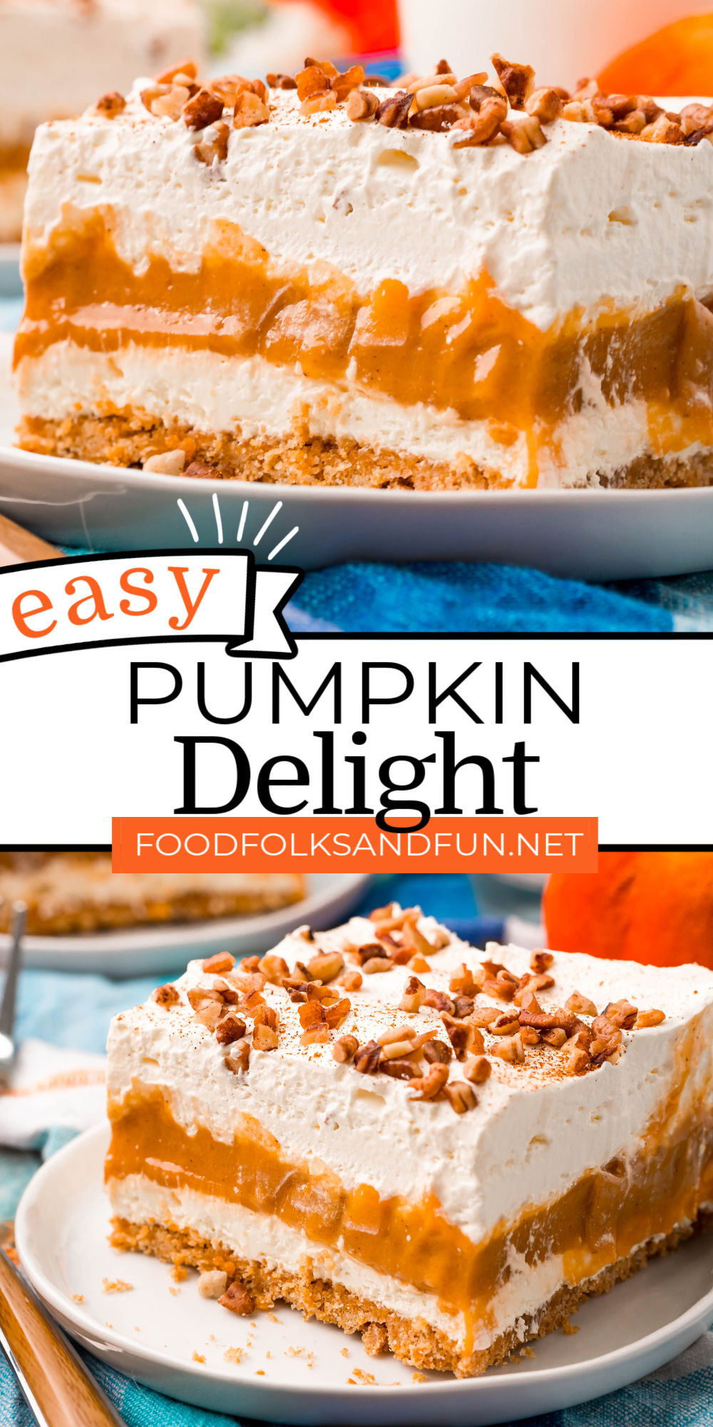 Pumpkin Delight is a layered fall dessert that is easy to make and calls for just eight ingredients! It has four distinct layers: graham cracker, cream cheese, pumpkin pudding, and whipped cream. via @foodfolksandfun