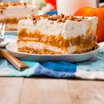 A piste of Pumpkin Delight on a wooden table.
