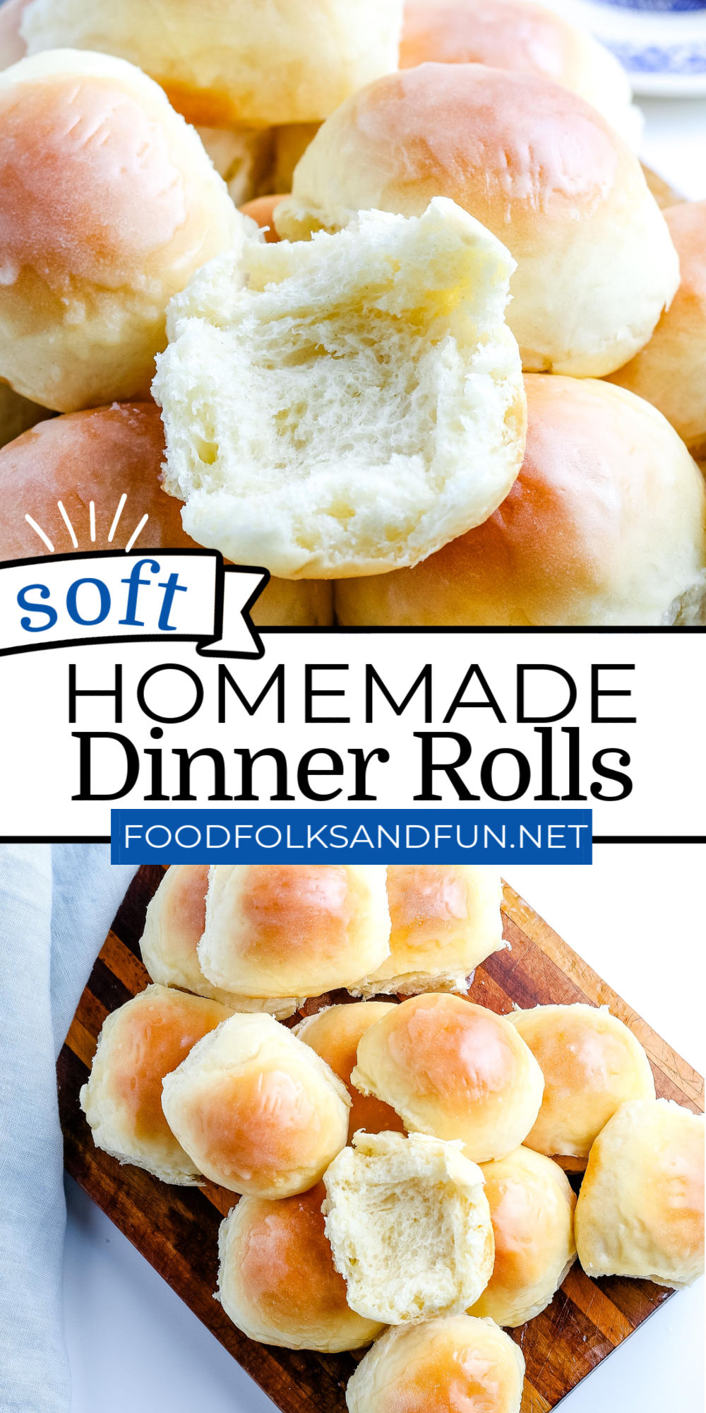 This Homemade Dinner Rolls recipe makes the softest, and fluffiest rolls brushed with melted butter and made with simple pantry ingredients. via @foodfolksandfun