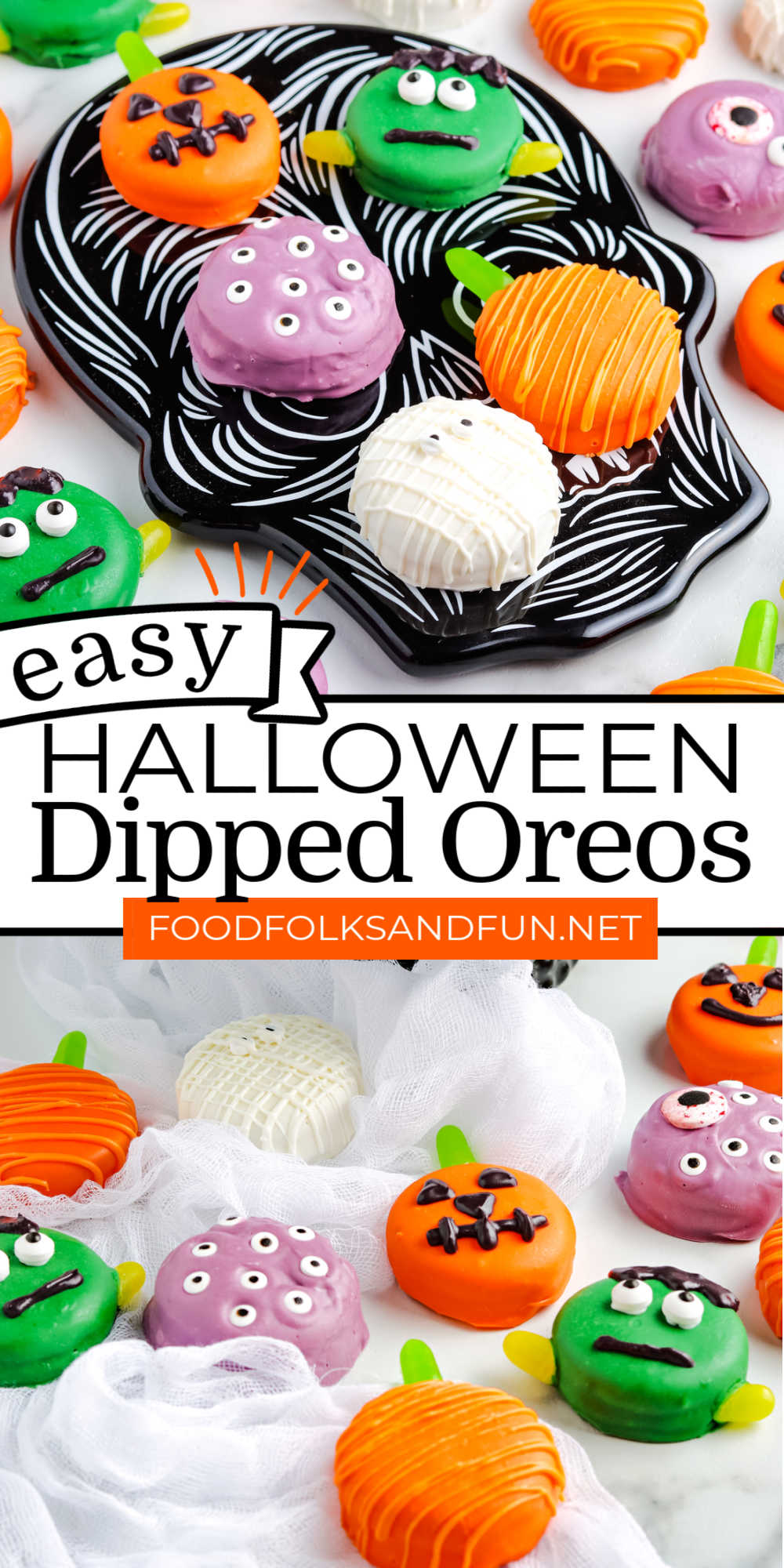 These Halloween Chocolate Dipped Oreos are easy and delicious. Grab the kids because they are going to love making this fun Halloween treat! via @foodfolksandfun