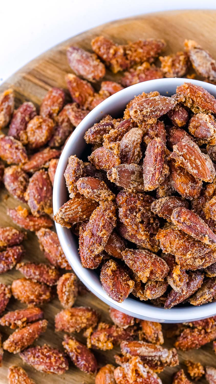 A bowl full of the finished Cinnamon Sugar Smoked Almonds.