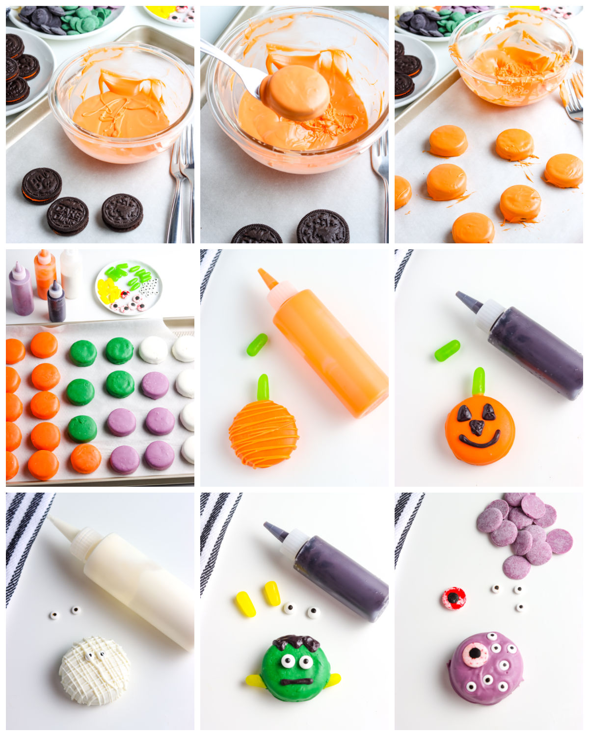 A picture collage of How To Dip Oreos In Chocolate.