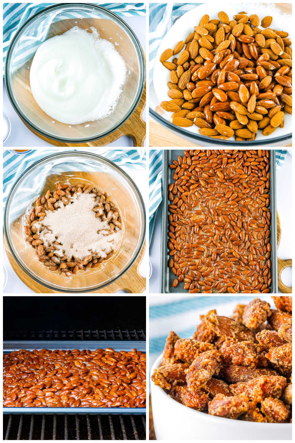 A picture collage showing how to make smoked almonds.