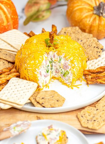 A pumpkin shaped cheese ball on a white platted surrounded by crackers.