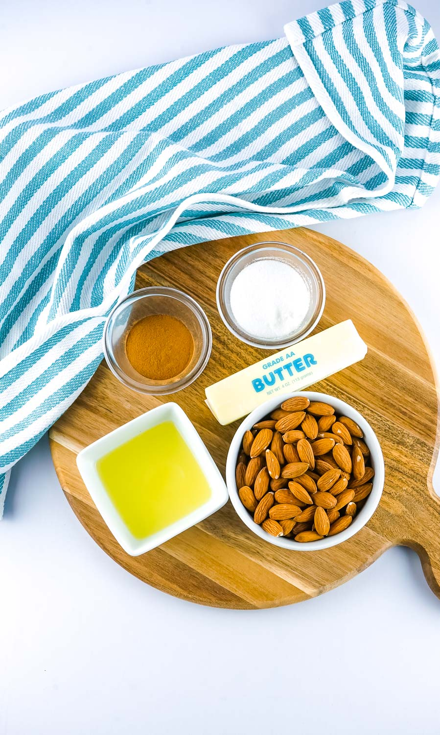An overhead picture of all of the ingredients needed to make this smoked almonds recipe.