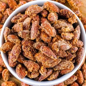 An overhead picture of the finished Cinnamon Sugar Smoked Almonds in a white serving bowl.