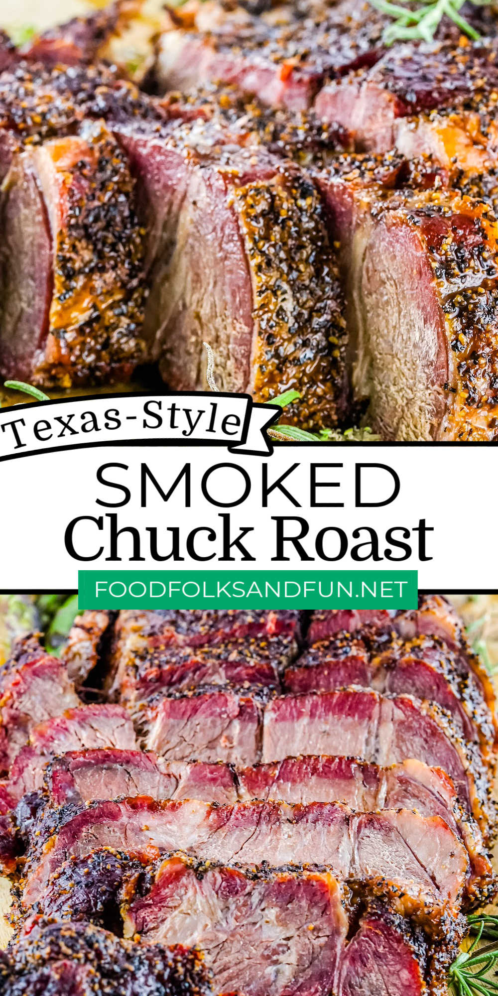 This Smoked Chuck Roast recipe is made Texas style. The meat melts in your mouth, and your knife will cut through it like it's cutting through butter! The roast is juicy, tender, and so succulent. via @foodfolksandfun